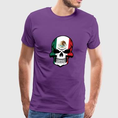Mexican Flag Skull Cool Day Of The Dead Skull - Men's Premium T-Shirt