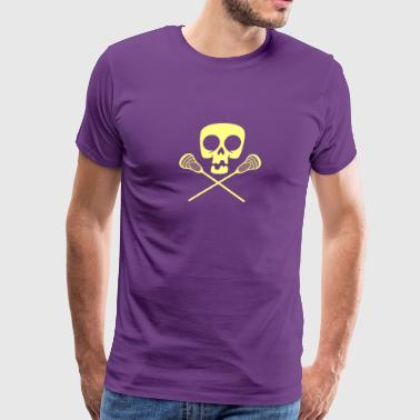 Lacrosse Skull Pirate Crossbones Sport - Men's Premium T-Shirt
