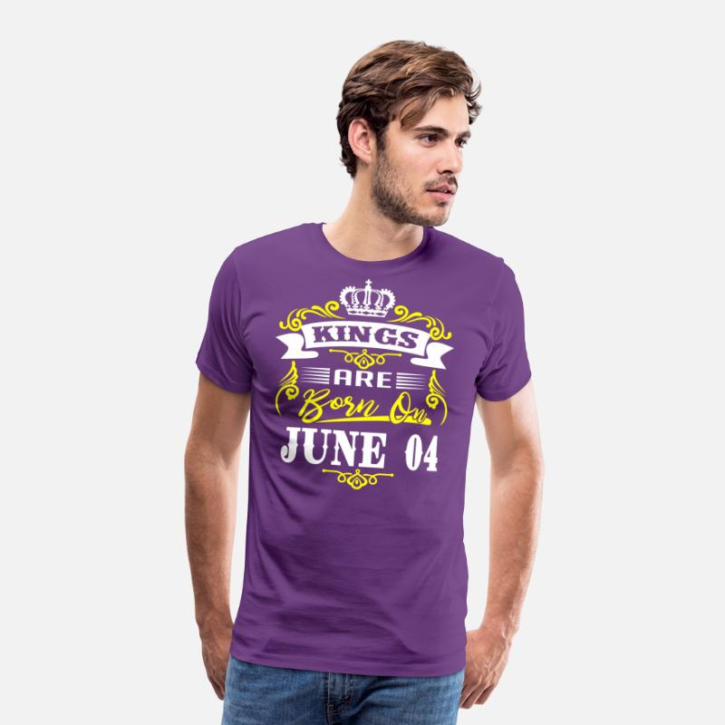 Legends Are Born In June T-Shirts - Kings are born on JUNE 04 - Men's Premium T-Shirt purple