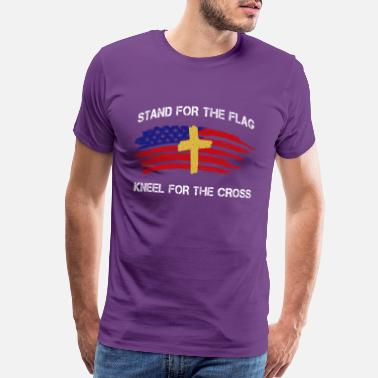 65a43d217 Fraternity Stand for The Flag Kneel for The Cross print - Men's Premium T- Shirt
