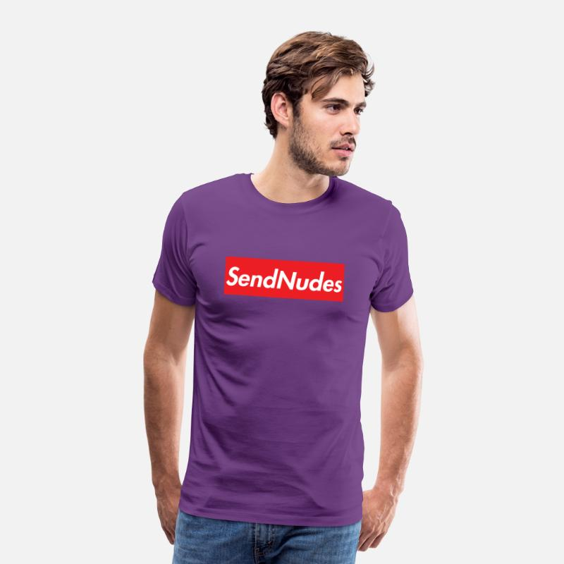 Supreme T-Shirts - Send Nudes Supreme Homage - Men's Premium T-Shirt purple