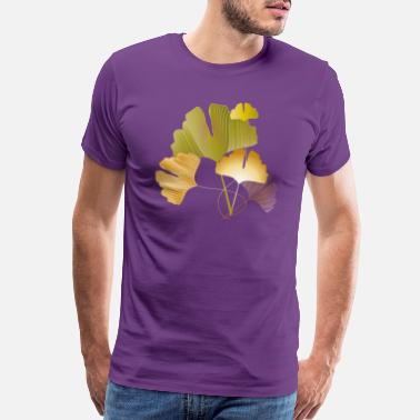 Filigree Stylish golden and green ginkgo leaves - Men's Premium T-Shirt