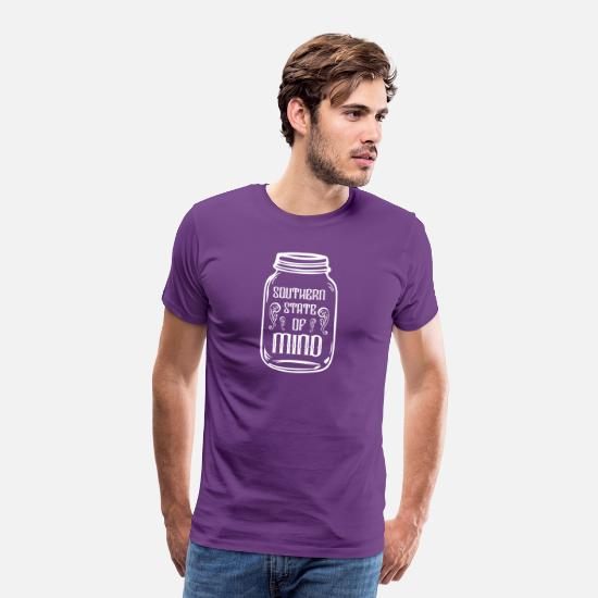 Southern Charm T-Shirts - Mason Jar Southern State of Mind - Men's Premium T-Shirt purple