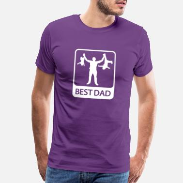 Silhouette Best Dad - Funny Silhouette of Father and Children - Men's Premium T-Shirt