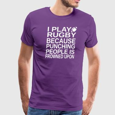 Rugby-I play-cool shirt,geek hoodie,cute tank top - Men's Premium T-Shirt