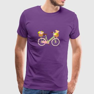 Rabbit On A Bike Bunny Lover Artistic Gift - Men's Premium T-Shirt