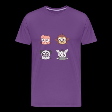 Pets for kids. Peggy, appy, pandy and zebry - Men's Premium T-Shirt