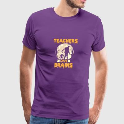 Teachers Love Brains Halloween - Men's Premium T-Shirt