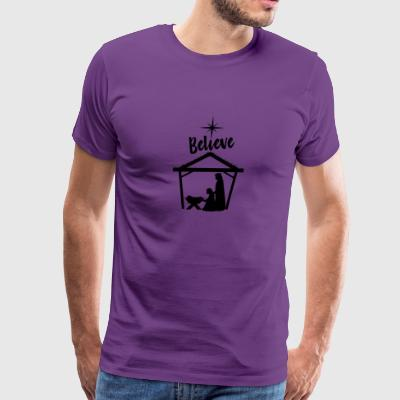 Believe Baby Jesus in the Manger - Men's Premium T-Shirt