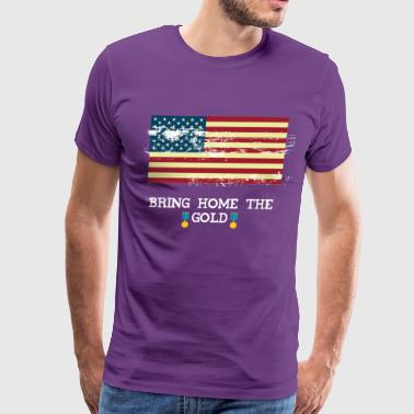 Bring The Home Gold American Flag Vintage - Men's Premium T-Shirt