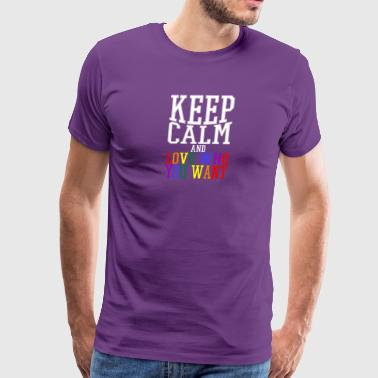 Gay t shirts white keep calm and love who you want - Men's Premium T-Shirt
