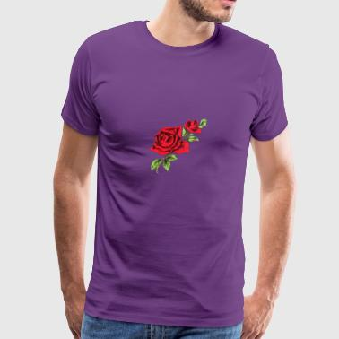 two red roses drawing - Men's Premium T-Shirt