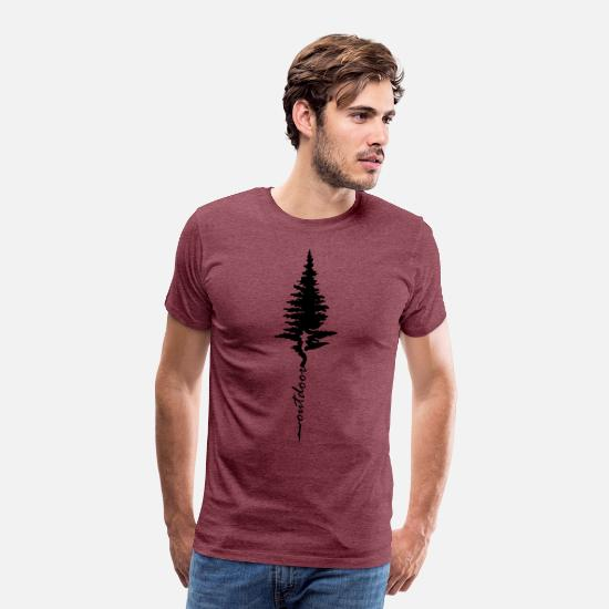 Tree T-Shirts - Outdoor Hiking Nature Forest Camping - Men's Premium T-Shirt heather burgundy