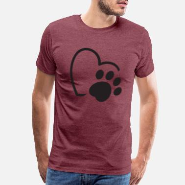 Paw Heartbeat dog paw heart dog day - Men's Premium T-Shirt