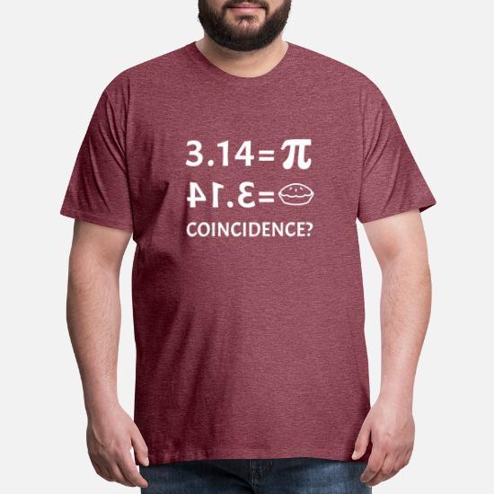 4ecca97a Funny Pie Equals Pi Day Math Teacher Student Joke Men's Premium T ...