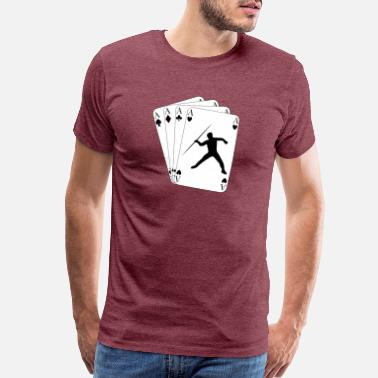 Javelin Throw on Poker Cards 4 Aces for Javelin - Men's Premium T-Shirt