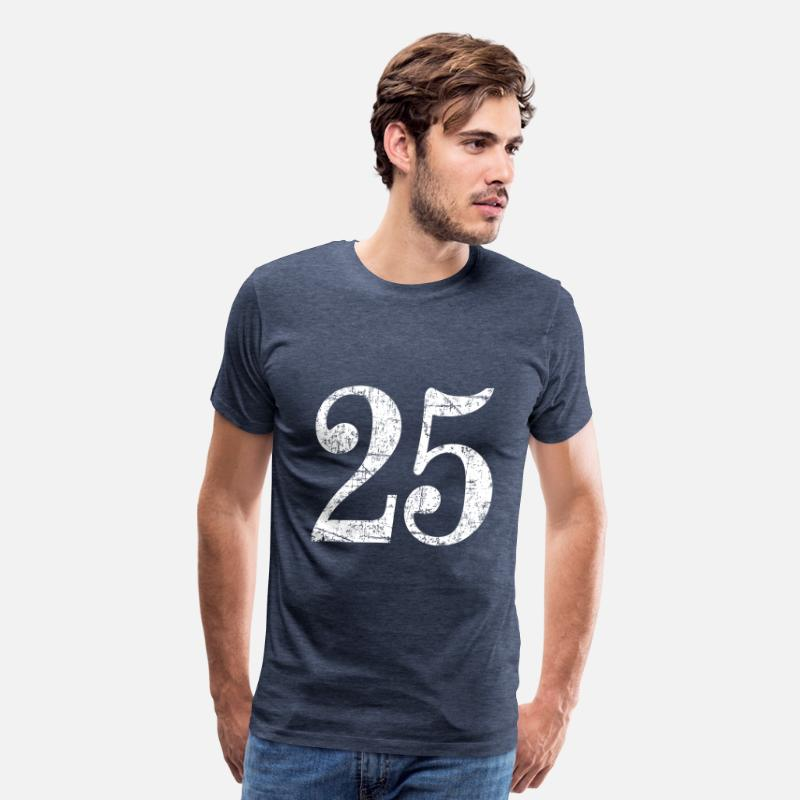 Number T-Shirts - Number 25 - 25th Anniversary (Ancient White) - Men's Premium T-Shirt heather blue