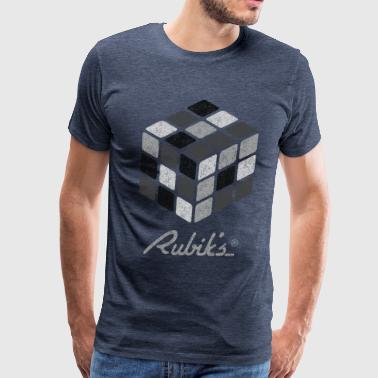 Rubik's Cube Black-And-White Print - Men's Premium T-Shirt