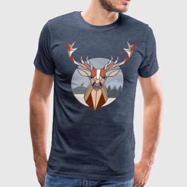 Brown Deer Head Polygonal Deer Head - Men's Premium T-Shirt