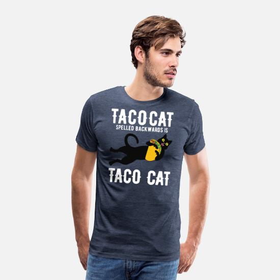 Taco T-Shirts - Crazy Taco Cat - Men's Premium T-Shirt heather blue