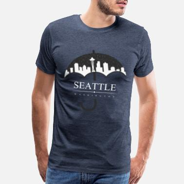 Cityscape Seattle Skyline Rain Umbrella Gift Shirt - Men's Premium T-Shirt