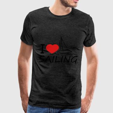 i love sailing love heart sailing boat ship club s - Men's Premium T-Shirt