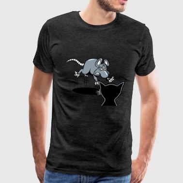 rat scared scare cat - Men's Premium T-Shirt