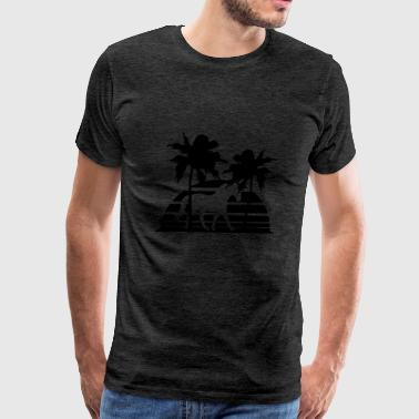 island sunset vacation beach palm trees beautiful  - Men's Premium T-Shirt
