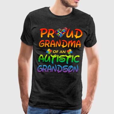 Kids Grandma Grandson Autism Awareness Proud Grandma Autistic Grandson - Men's Premium T-Shirt