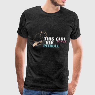 Pitbull - This girl loves her pitbull - Men's Premium T-Shirt