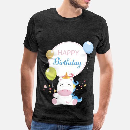 Mens Premium T ShirtHappy Birthday Unicorn