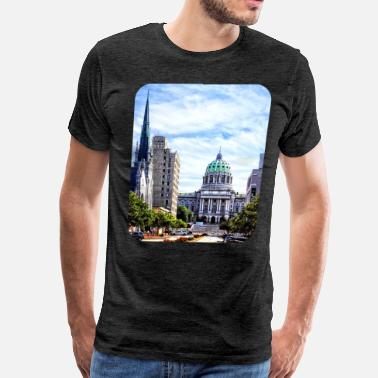 Third Street Harrisburg PA - Capitol Building Seen from State S - Men's Premium T-Shirt