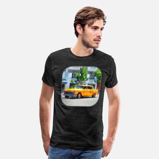 Automobile T-Shirts - Vintage Checkered Cab - Men's Premium T-Shirt charcoal gray