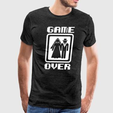 Funny Video Game Game Over tees Funny Wedding Video Gamer Groom - Men's Premium T-Shirt