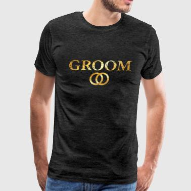 Groom Wedding Rings (Ancient Gold) - Men's Premium T-Shirt