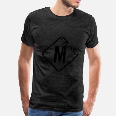 Letter M Cartoon M warning danger sign scratch old road sign cautio - Men's Premium T-Shirt