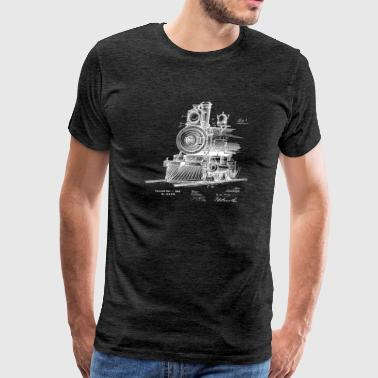 Train Engineer locomotive front 1898 TP WHITE - Men's Premium T-Shirt
