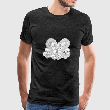 hand drawing skulls with dragons - Men's Premium T-Shirt