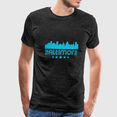 Retro Baltimore Skyline - Men's Premium T-Shirt