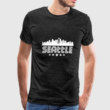 Retro Seattle Skyline - Men's Premium T-Shirt