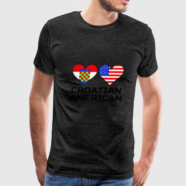 Croatian American Hearts - Men's Premium T-Shirt
