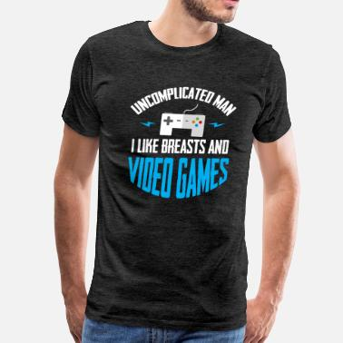 Breast Nerd I like breasts and video games T-Shirt - Men's Premium T-Shirt