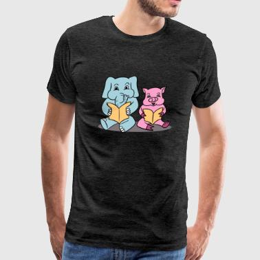 Elephant And Piggie Read - Men's Premium T-Shirt