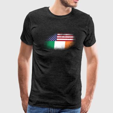 Distressed Half America Half Ireland Flag Mix - Men's Premium T-Shirt