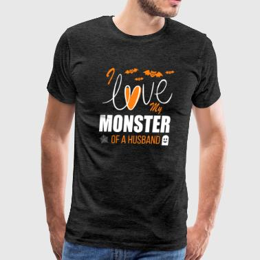 I Love My Ma Halloween Couple Shirt I Love My Monster Of A Husb - Men's Premium T-Shirt