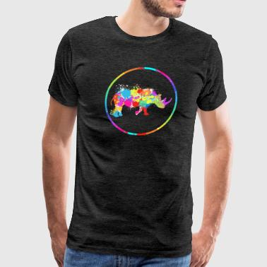 Rainbow Artistic Rhino Animal T-Shirt Gift - Men's Premium T-Shirt