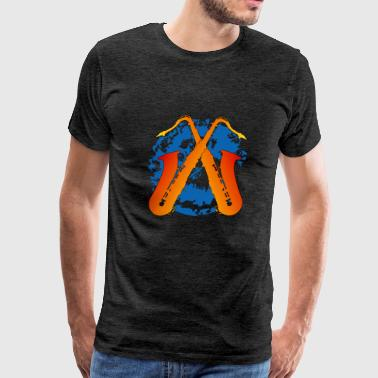 crossed saxophones on a splotch - Men's Premium T-Shirt