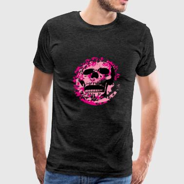 skull on pink splotches - Men's Premium T-Shirt