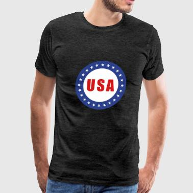 USA Flag Round - Men's Premium T-Shirt