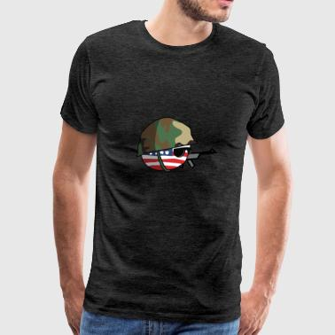 AmericaBall Soldier Protecting USA - Men's Premium T-Shirt
